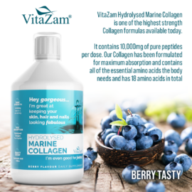 Vitazam – Hydrolysed Marine Collagen   Absolute Collagen Drink to Reduce Wrinkles, Strengthens Hair & Nails, Prevent Cellulite and Reduce Joint Pain & Inflammation – 500 ml- Berry Flavour