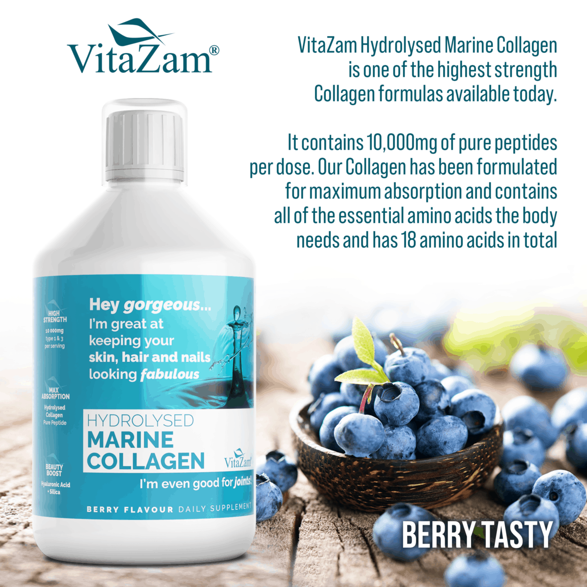 Vitazam – Hydrolysed Marine Collagen | Absolute Collagen Drink to Reduce Wrinkles, Strengthens Hair & Nails, Prevent Cellulite and Reduce Joint Pain & Inflammation – 500 ml- Berry Flavour