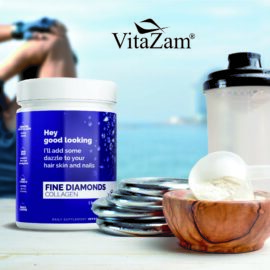 Fine Diamonds by VitaZam – Natural Bovine Collagen Type 1 & 3 – Collagen Powder to Reduce Wrinkles, Strengthen Hair & Nails – 30 Servings Sugar & Carb Free – Natural Collagen Flavour