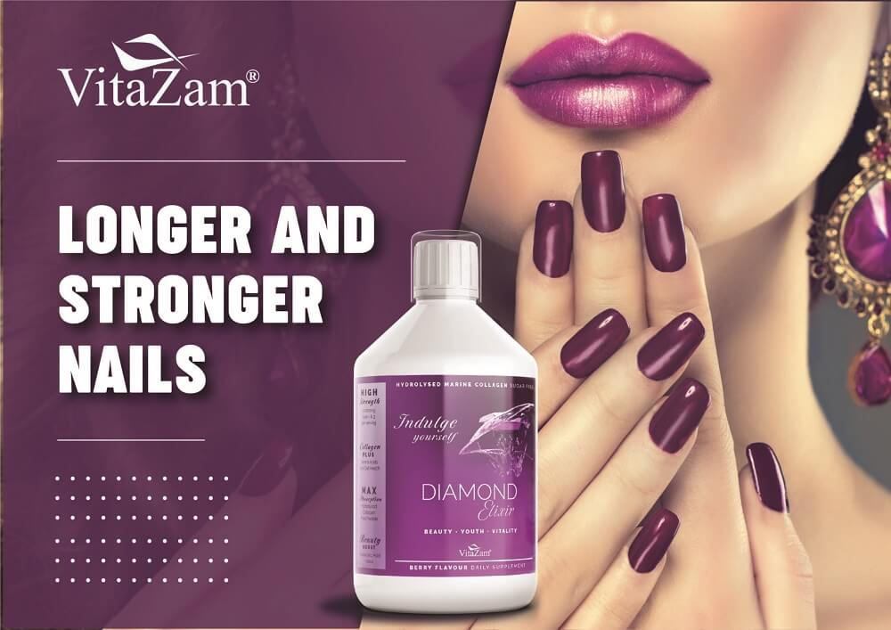 Vitazam – Diamond Elixir | Advanced Marine Collagen Type 1 & 3 for Hair Skin and Nails – 500 ml Sugar Free Collagen Drink with Hyaluronic Acid and Vitamin C – Berry Flavour Supplement